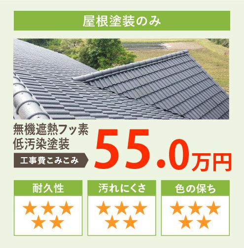 屋根塗装のみ 無機遮熱フッ素低汚染塗装 工事費込み込み50.0万円
